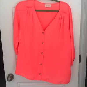 Everly neon pink v neck blouse with button detail